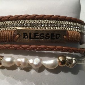 "Jewelry - Faux Leather ""Blessed"" Bar Bracelet"